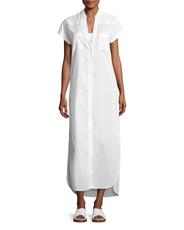 Kim Button-Front Coverup Maxi Dress, White