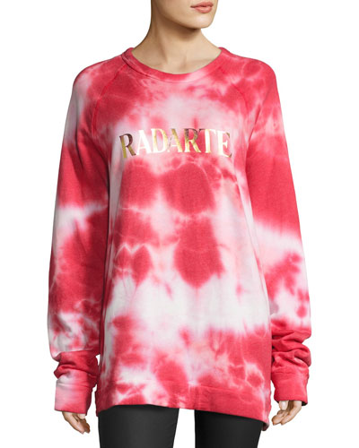 Radarte Tie-Dye Sweatshirt, Red Pattern