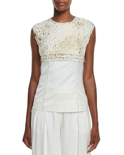 Sleeveless Foiled Lace Paneled Top, Gesso/Gold
