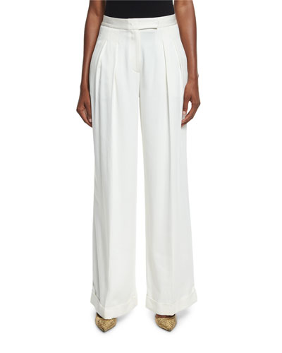 Pleated Wide-Leg Crepe Pants, Gesso