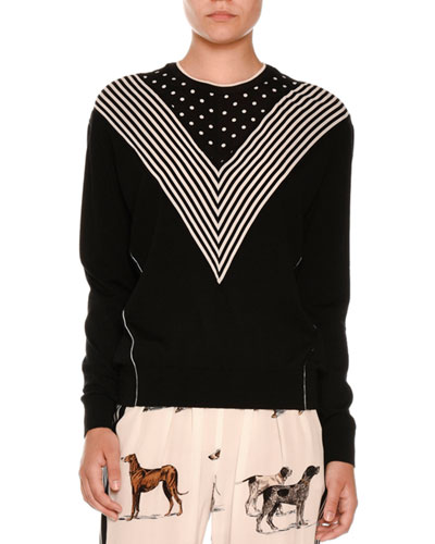Long Sleeve Chevron-Striped Sweater, Black