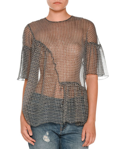 Ruffled Metallic-Print Blouse