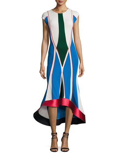 Knit Cap-Sleeve Flared Midi Dress, Blue