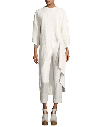 Striped Linen High-Low Tunic Top