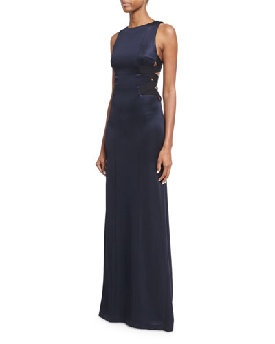 Satin Gown w/Elastic Straps, Navy