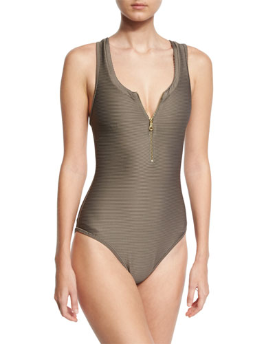Huntington Beach Zip-Front One-Piece Swimsuit, Gray
