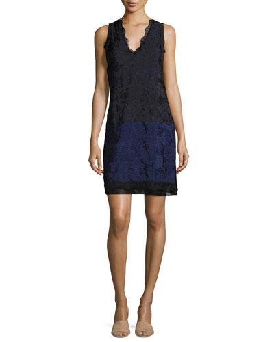 Sleeveless Lace Colorblock Shift Dress, Medium Blue