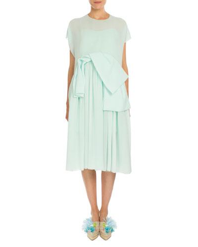 Short-Sleeve Chiffon Overlay Dress, Mint