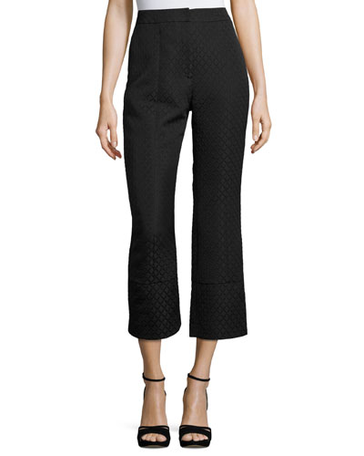 Verity Cropped Jacquard Pants, Black