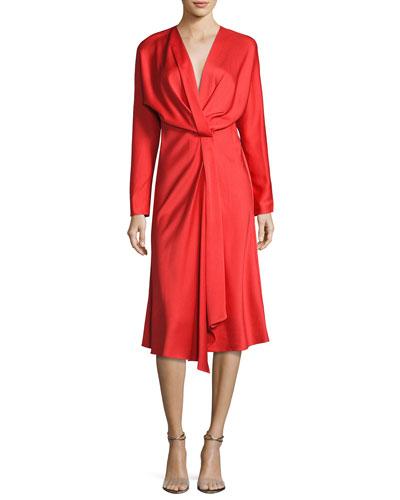 Long-Sleeve Draped Midi Dress