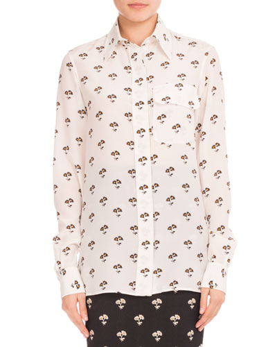 Floral-Print Silk Blouse, White/Black/Orange