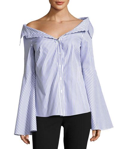 Persephone Striped Décolleté Shirt, Blue/White
