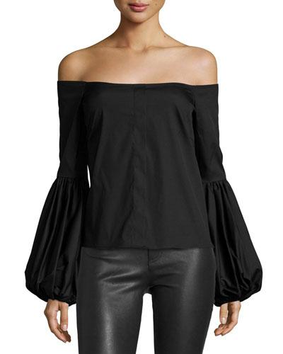 Giselle Off-the-Shoulder Poplin Blouse, Black
