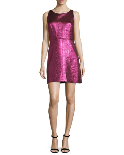 Sleeveless Lurex® Jacquard A-Line Dress, Fuchsia