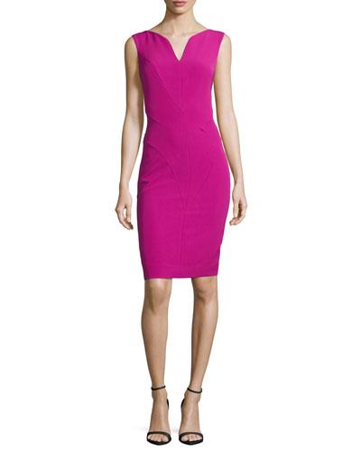 Sleeveless Split V-Neck Sheath Dress, Fuchsia