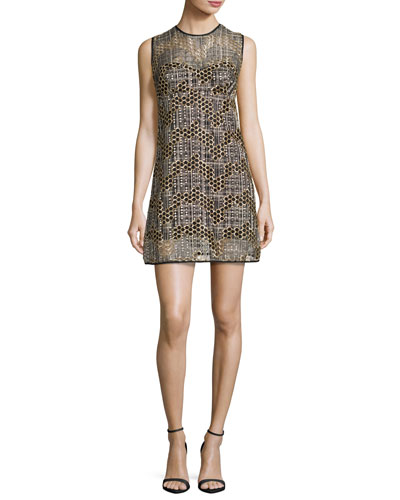 Sleeveless Jewel-Neck Sequined Tulle Shift Dress, Gold