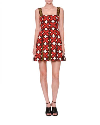 Cuban-Flower Pleated Sleeveless Dress