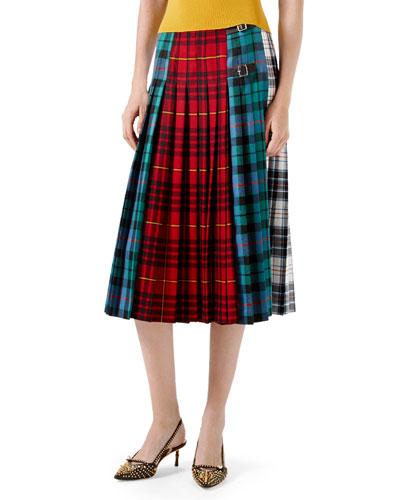Wool Tartan Skirt, Red