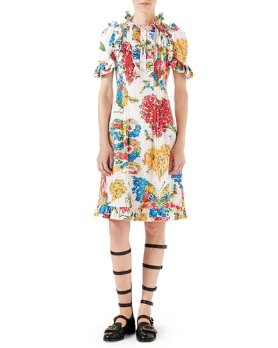 Corsage-Print Cotton Dress, Ivory