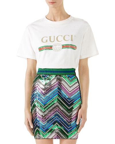 Gucci-Print Cotton Tee, White