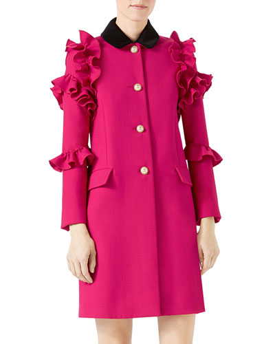Wool Flounce Coat, Dark Red