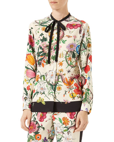 Flora Snake-Print Silk Shirt, Multicolor