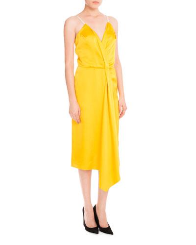 Draped Satin Midi Dress, Yellow/Pale Rose