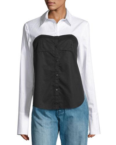 Satin Poplin Bustier Shirt