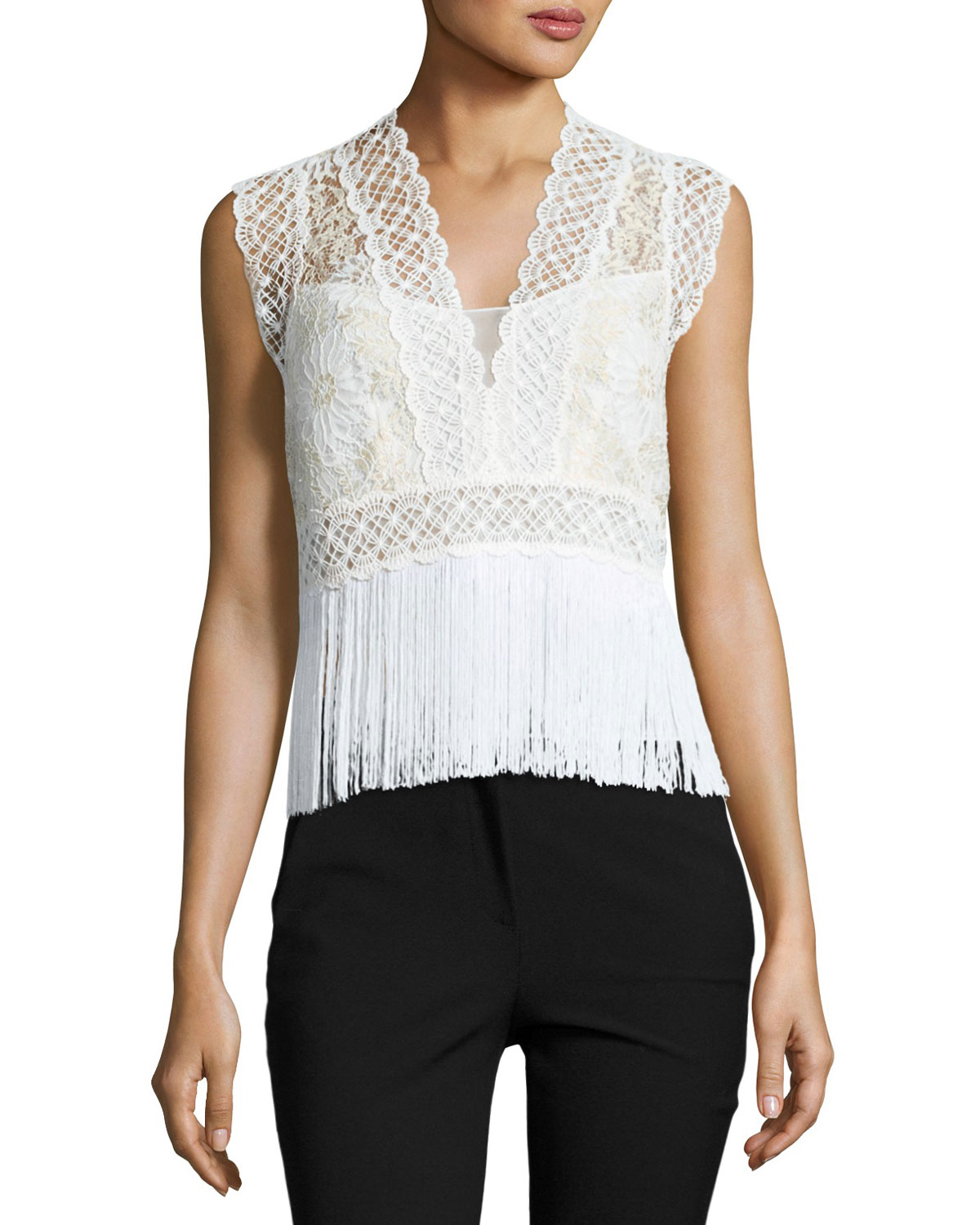 Aaliyah Sleeveless Lacy Fringe-Hem Blouse, Multi