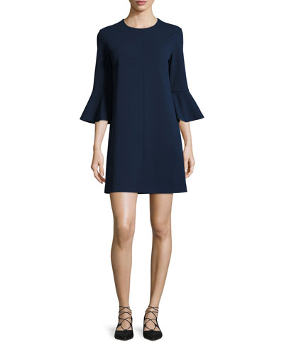 Crepe Bell-Sleeve Shift Dress