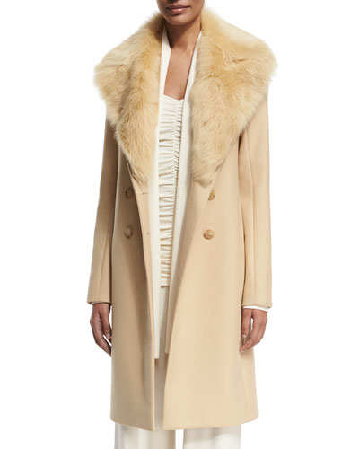 Roza Shearling-Trim Long Coat, Light Beige