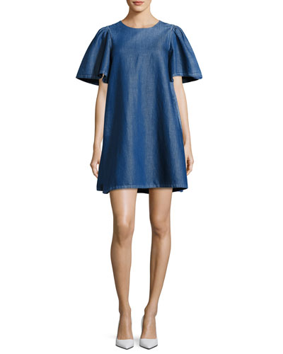 Denim Short-Sleeve Swing Tunic Dress, Blue