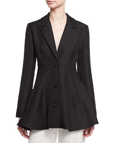 Three-Button A-Line Jacket, Black