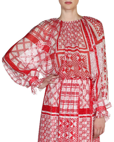 Native Quilt Round-Neck Blouse, Red/White