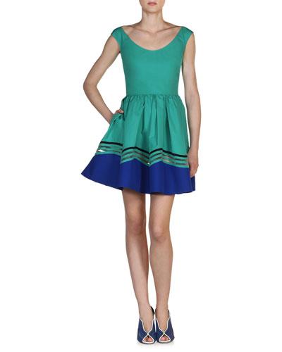 Fendi Cottons SCOOP-NECK WAVE COTTON DRESS, AQUA BLUE