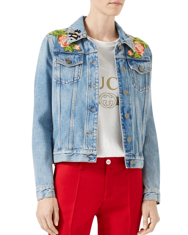 Embroidered Denim Jacket, Blue