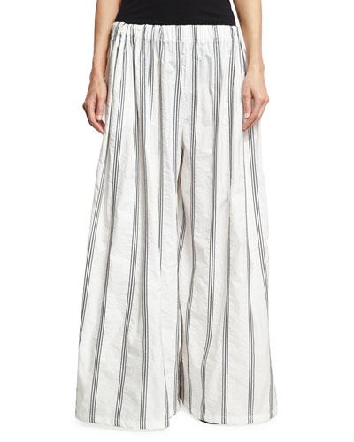 Crinkle Cotton Micro Paillette Pants, White