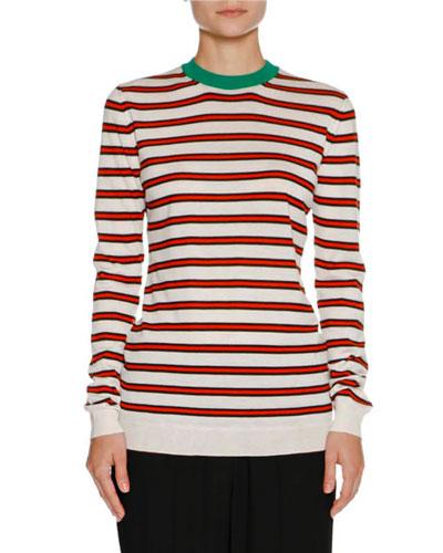 Striped Cashmere Crewneck Sweater, White