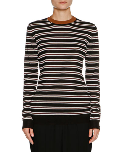 Striped Cashmere Crewneck Sweater, Black