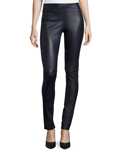 Leather Leggings, Navy