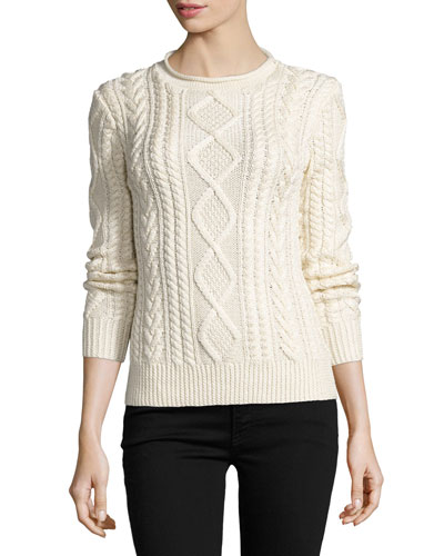 Aran-Knit Silk-Cashmere Sweater, Cream