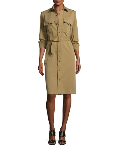 Bi-Stretch Cotton Gabardine Shirtdress, Green
