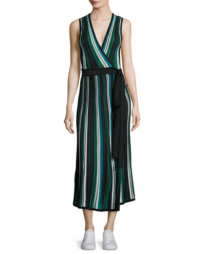 Cadenza Metallic Striped Sleeveless Wrap Dress