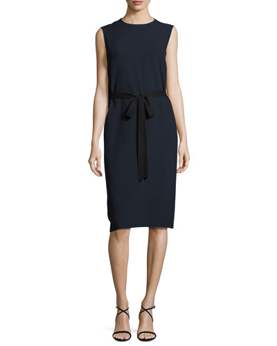 Easton Sleeveless Tie-Waist Dress, Navy