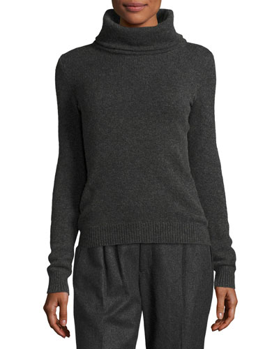 Cashmere Turtleneck Sweater, Charcoal