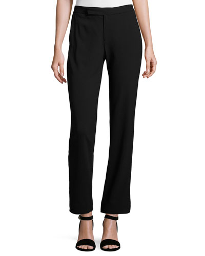 Seth Tuxedo-Stripe Wool Pants, Black