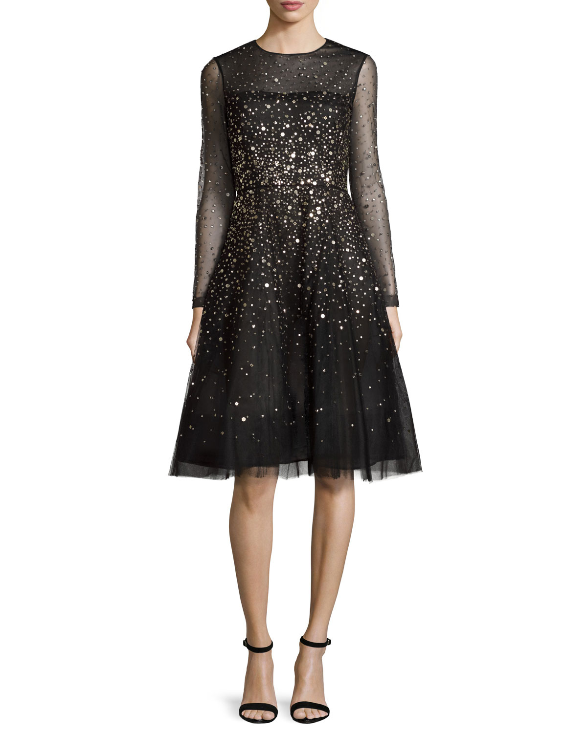 Sequined Illusion Tulle Cocktail Dress, Black