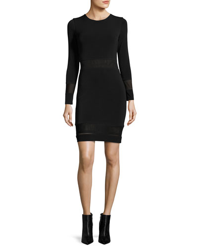 Madie Mesh-Panel Fitted Dress, Black