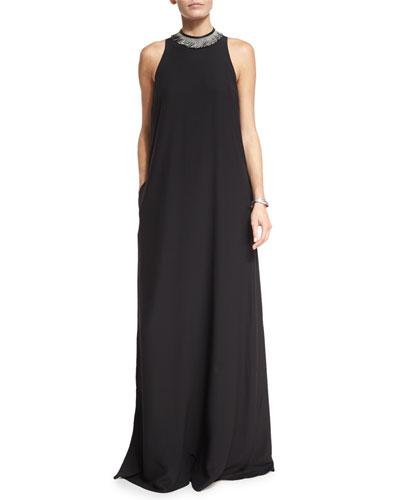 Monili & Leather-Trim Maxi Gown, Black