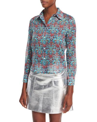 Geometric-Print Cotton Blouse, Blue Pattern